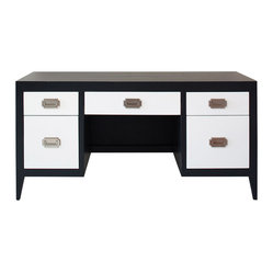 Newport Cottages - Devon Double Pedestal Desk - This revamp of a classic Shaker-style desk is the perfect addition to your office. Five convenient drawers allow you to store all your supplies, files and electronics.