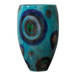 Global Views - Blue Spots Vase - Eclectic ceramic vase uniquely decorated with many hued spots.