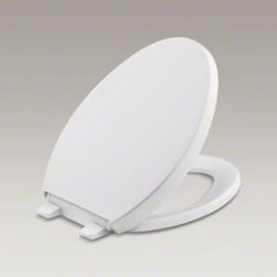 """Kohler - Kohler K-4008-0 White Reveal Reveal Elongated Closed-Front Toilet Seat - Product Features:  Elongated toilet seat with lid - designed to complement a wide variety of elongated toilet designs The Reveal seats combine transitional styling with advanced technologies The Q3 advantage seats feature technologies that keep the seat from slamming, and simplifies both cleaning and installation Made from a solid polypropylene and is resistant to staining, fading, chipping and peeling Seat is ergonomically contoured to provide maximum comfort to the user Complete with color matched plastic hinges  Product Technologies / Benefits:  Grip-Tight Bumpers: These rubber bumpers provide added security as well as less shifting of the seat while in use. Quiet Close: This quiet close lid forces a gentle descent guaranteeing that your seat will never slam as you put it down. Quick Attach: To get you fast on your way to enjoying your new toilet seat, the Quick-Attach Hardware from Kohler makes for fast and secure installation. Simply set the seat with the screws in pre-drilled installation holes, slip a wing-nut underneath and tighten from the top with a screw driver, it's that easy. Quick Release: This simple yet innovative technology from Kohler allows the seat to be unlatched from the toilet for easy removal and convenient cleaning with no tools required. Simply pop open the caps and gently pull the seat forward and you are ready for that detailed cleaning job that has been so difficult in the past.  Specifications:  Height: 1-1/8"""" (measured from rim of toilet fixture to highest point on seat) Overall Length: 18-1/16"""" (measured from the back of the hinges to the front most part of the seat) Overall Width: 14-3/16"""" (measured from left most point to the right most p"""