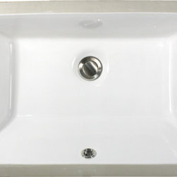 "UM-19x11-W - 19"" x 11"" Undermount Rectangle Ceramic Vanity Sink with Overflow. Available in White or Bisque."