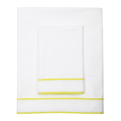 Ayanna Sheet Set, Citron - I have my eye on this sheet set with a bright citron trim. It would look so cheery peeking out from beneath a crisp white coverlet.