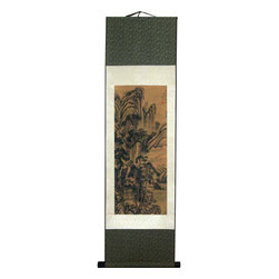 Oriental-Decor - Ancient Mountains Chinese Print Scroll - This reproduction of a famous Chinese landscape scene is ideal for creating an authentic-looking decorative backdrop in any area. The faded beige background and the mostly unilateral color scheme of the landscape provides a classic, antique-like feel to this special Chinese print scroll. Add it to your home or office for a rich and storied decorative appearance.