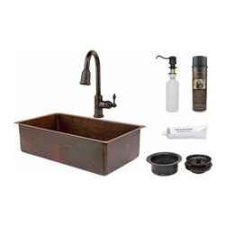 "Premier-Copper-Products - 33"" Copper Sink w/ORB Faucet - KSP2_KSDB33199 Premier Copper Products 33 Inch Hammered Copper Kitchen Single Basin Sink with ORB Pull Down Faucet, Matching Drain, and Accessories."