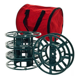 Trademark Global - Extension Cord or Christmas Light Reels with - 4 Reels. Each Reel Holds 2 100 Mini-Light Sets or 1 150 Icicle Light Set. Works with Extension Cords too. Durable Plastic Construction. Zippered Storage Bag Holds All 4 Reels. Reel Dimensions: 2.625 in. W x 8.5 in. Diam.. Storage Bag Dimensions: 10.25 in. L x 9.25 in. W x 9.25 in. H (3 lbs.)Take the hassle out of Christmas decorating with the String & Store Christmas Light Reels by Trademark Home Collection. Christmas lights quickly and easily spool off or on to this incredible reel for easy decoration or storage. Say goodbye to the anguish of tangled strands of lights and enjoy the time saving convenience of the String & Store Christmas Light Reels by Trademark Home Collection.