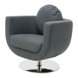 Nuevo Living - Simone Swivel Occasional Chair in Dark Grey Wool by Nuevo - HGDJ746 - The Simone Occasional chair in dark grey wool features a hardwood frame construction with CFS foam. The base is a high polish stainless steel. The upholstery is wool. The Simone also features 360 degree rotation.