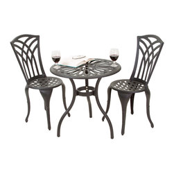 Great Deal Furniture - Franzburg 3pcs Outdoor Cast Aluminum Bistro Set - The Franzburg bistro set is a beautiful addition for your outdoor decor. Made from cast aluminum, the set includes two (2) armless chairs and one (1) round mesh table. The features include intricate details on the chair backrest, and the table also features a patio umbrella opening. The antique black sand finish is neutral to match any outdoor furniture and will hold up in any weather condition. Whether in your backyard, patio, deck or even your restaurant outdoor dining space, you'll enjoy this set for years to come.