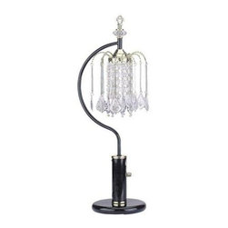 ORE International - Black Crystal Table Lamp: 27 in. Black Table Lamp with Crystal Like Shades 715BK - Shop for Lighting & Fans at The Home Depot. This elegant table lamp with crystal like shades lends an elegant feel to your dining room or living room. It's accented with chandelier style lights for a classic decor. The beautiful lamp is made of metal with a powder -coat finish.