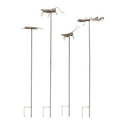 "IMAX - Acerra Metal Insect Garden Stake - Set of 4 - With a whimsical feel, these metal statuary garden stakes feature oversized insects and add a fun feel to any garden. Set of four. Item Dimensions: (38.5-48.25""h x 8-11""w x 4.5-6"")"