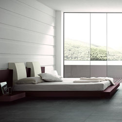 """Rossetto - Rossetto   Win Floating Platform Bed - Balance, serenity and comfort — these are principles of Asian design, and inspiration for the Win bedroom. The Win Floating Platform Bed by Rossetto features an exotic wenge wood finish and recessed aluminum feet which create a floating illusion. Symmetrical styling transforms the bedroom into a harmonious living space.A unique combination of Italian workmanship and design, the low-profile Win Floating Platform Bed is made with solid wood construction and high-quality wood veneers. The extra-wide headboard is available with optional custom lights and leather pillows in Red or White. Designed for a mattress only. Select Queen or King size.Note: This platform bed is approximately 3"""" lower than the Win Platform Bed."""