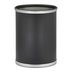 Kraftware - Sophisticates Waste Basket w Bumper in Black - Brushed chrome bands. Classic leatherette elegance. Made in USA. 10 in. Dia. x 12 in. H (1.5 lbs.)Always as appropriate as a formal Tuxedo at a reception.