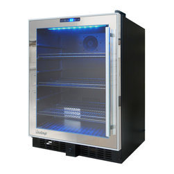 Vinotemp - VT-54 Mirrored Touch Screen Beverage Cooler - The sleek and stylish VT-54 Mirrored Touch Screen Beverage Cooler is the perfect beverage storage solution for those who love to entertain and have an eye for design. This cooler features patent pending Vinotemp mirrored trim design and will add a touch of modern sophistication to any room. As an added design feature, this unit includes attractive patent pending black racking, also a Vinotemp exclusive. The digital touch screen control panel makes adjusting the temperature a breeze and a soft blue LED interior light illuminates your favorite beverages. This cooler is the perfect companion for the VT-54TS-SM.