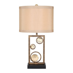 "Van Teal - Contemporary Van Teal Wheels of Friendship 31"" High Ochre Table Lamp - This modern table lamp design features an abstract base of circles in a golden ochre finish. Cuts of acrylic fill and accent the metal circle frames for a warm piece that will add interest and style your interior. An tan drum shade contrasts the rectangular base below. From the Free Wheeling Collection. Golden ochre finish. Black base finish. Tan drum shade. Maximum one 150 watt 3-way bulb (not included). 31"" high. Shade is 17"" x 17"" x 12"".  Golden ochre finish.   Black base finish.   Tan drum shade.   Design from the Van Teal collection of lighting.  From the Run Away Collection.   Maximum one 150 watt 3-way bulb (not included).   31"" high.   Shade is 17"" x 17"" x 12""."