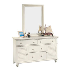 Sauder - Sauder Harbor View Dresser and Mirror Set in Antiqued White - Sauder - Dressers - 158016PKG