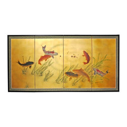 """Oriental Furniture - 36"""" Gold Leaf Seven Lucky Fish - Evoke images of the Orient with this soft and beautiful, hand-painted gold leaf rendition of seven lucky fish. Note that no two renderings are exactly the same."""