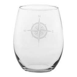 Rolf Glass - Compass Rose White Wine Tumbler 15oz, Set of 4, Clear, 21 Oz. - No matter what direction you are headed, you need a steady compass to guide you home. The Compass Rose collection helps you stay the course through calm seas or squalls. This classic nod to navigation is the perfect edition to any elegant evening. Whether you fancy yourself Captain Stubing or Captain Jack, your designer intuition will always point True North.  Made in USA.  Set of 4