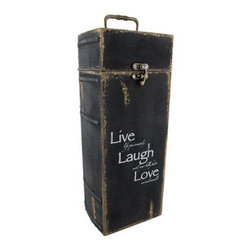 Antiqued `Live, Laugh, Love` Single Bottle Wine Case - This single bottle wine case is made to resemble an antique book with these words of wisdom on the front, `Live life passionately, Laugh until your belly hurts, Love unconditionally.` It is made of wood and features a metal latch and carry handle. The exterior measures 13 1/2 inches tall, 5 inches wide, 4 1/4 inches deep, while the interior measures 12 1/2 inches tall, 4 1/4 inches wide, 3 3/4 inches deep. It makes a wonderful gift or home decor accent.