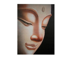 "Oriental Furniture - Buddha Canvas Wall Art - A powerful and beautiful rendering of the face of a statue of Gautama Buddha, the historical Buddha. Distinct from the ""Laughing Buddha"", this is the Bodhisattva who found enlightenment under a Bodhi tree. The design is reminiscent of wood plaques carved in northern Thailand in the present day. Each print has been carefully formatted and lithographically printed onto art quality canvas. The canvas image is mounted on a simple wooden frame, making it simple to hang."