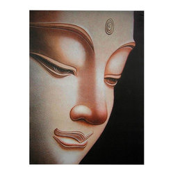 "Oriental Furniture - Buddha Canvas Wall Art - A powerful and beautiful rendering of the face of a statue of Gautama Buddha, the historical Buddha. Distinct from the ""Laughing Buddha"", this is the Bodhisattva who found enlightenment under a Bodhi tree. The design is reminiscent of wood plaques carved in northern Thailand in the present day. Each print has been carefully formatted and lithographically printed onto art quality canvas. The canvas image is mounted on a simple wooden frame, making it simple to hang.Around 2 feet wide by just over 2 and a half feet tallSubtle, serene, beatific visage of Gautama BuddhaCanvas art prints formatted, fitted, and stretched on a wooden frameShips stretched and ready to hang, as shown"