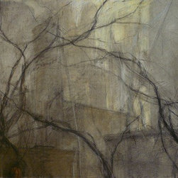 Industrial Memory (Original) by Nanci Erskine - This is a fictional scene of grain elevators, enveloped by fog, behind a screen of tangled branches