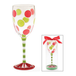 Burton & Burton - Holiday Polka Dots Wine Glass - Decorative Cup - Cute And Fun For Any Occasion - What better way to wind down your evening than with a delicious glass of wine sipped from one of our fashionable wine glasses? Or perhaps you're looking for the perfect glass for a ladies' night in. Well, look no further!