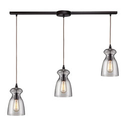 Elk Lighting - Elk Lighting 60043-3L Oiled Bronze Menlow Park Three-Light Kitchen Island Fixtur - ELK Lighting 60043-3L 3 Light Menlow Park Island Light This ELK Lighting item has an oiled bronze finish. It is available with clear glass. For use with