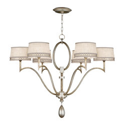 Fine Art Lamps - Allegretto Silver Chandelier, 785840ST - With its sleek and graceful frame done in a burnished gold- or silver-leaf finish, this lovely chandelier will bring subtle elegance to your favorite space. Delicate details — the trim around the textured linen shades, the gleaming teardrop finial — add to the charming effect.