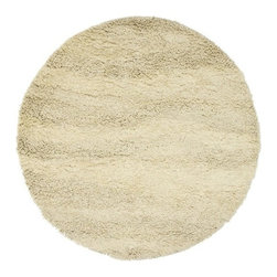 Surya - Berkley 8 Ft Round Beige Wool Shag Rug - BRK3300 - The perfect accent for any contemporary style home, this fabulous retro style Berkley rug is a classic favorite. Use this eight-foot round rug under a dinette set or as the focal point of a cozy seating arrangement. Meticulously hand-woven to create a subtle wave pattern, this durable rug is made from 100% worsted wool from New Zealand. This stylish rug can be used on bare floors as well as an accent over carpeting. Hand woven. Made in India. Made from 100% semi-worsted New Zealand Wool