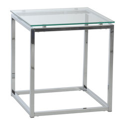Euro Style - Sandor Side Table - Clear Glass/Chrome - The proportions of these three tables (coffee, side and console) are iconic to say the least.  Tops in clear or pure white glass float on perfectly geometric chrome steel bases.  We're talking Museum of Modern art here.  Not really.  But it's the right thing to do.