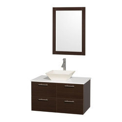 Wyndham Collection - 36 in. Wall Mounted Vanity Set in Espresso Finish - Includes mirror, drain assemblies and P-traps for easy assembly. Faucet not included. Modern clean lines. Eight stage preparation. Veneering and finishing process. Highly water resistant low V.O.C. sealed finish. Unique and striking contemporary design. Deep doweled drawers. Fully extending soft close drawer slides. Soft close door hinges. Single hole faucet mount. Two functional doors. Two functional drawers. Plenty of storage space. White man made stone top. Bone porcelain sink. Engineered for durability and to prevent warping and last for lifetime. 0.75 in. thickness mirror. Made from highest quality grade E1 MDF. Metal exterior hardware with brushed chrome finish. Minimal assembly required. Mirror: 23.75 in. W x 33 in. H. Vanity: 36 in. W x 21.5 in. D x 20.25 in. H. Care Instructions. Assembly Instructions - Sink. Assembly Instructions - MirrorTruly elegant design aesthetic meet affordability in the Wyndham Collection Amare Vanity. The attention to detail on this elegant contemporary vanity is unrivalled.