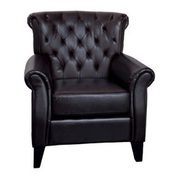 Frankfurt Tufted Leather Club Chair - Brown - The epitome of class and prosperity, the Franklin Tufted Leather Club Chair - Brown is designed for any room that exudes upscale style. A hardwood frame, sumptuous brown leather, and deeply tufted details make this chair a classic. About Best Selling Home Decor Furniture LLCBest Selling Home Decor Furniture LLC is a US-based company dedicated to providing you with a wide variety of fine furniture. With sales and manufacturing offices in Europe and China, as well as the ability to ship to anywhere in the world, no one is excluded from bringing these lovely pieces home. From outdoor to indoor furniture, children's furniture to ottomans and home accessories, all your needs will be met with attractive, high quality products that will last.