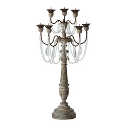 Kathy Kuo Home - Pair Crystal Sway Distressed Gray French Country Candelabra - The La Grey Candlestick will add a bit of sparkle to your table with an Antique Aged Wood finish and crystal swag accents.  Price marked is for a pair.
