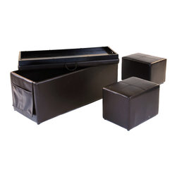 Ottoman - 3Pc Storage Ottoman Set - MATERIAL: Cover by PVC.