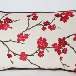 Cherry Blossom Lumbar Pillow with Piping - I LOVE this pillow! It is both dramatic and delicate and the chocolate brown piping adds a custom touch.