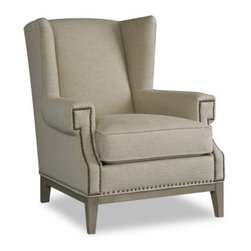 Sam Moore Zahara Wing Chair - Natural - Geometric nailhead trim detailing on the Sam Moore Zahara Wing Chair - Natural add a distinctive look. This chair has a classic wing back design with lightly textured natural fabric upholstery and tailored welt trim for a tasteful look. The deluxe seat cushion and perfectly placed arms add comfort while the tapered legs in a dove grey finish add to the modern look.About Sam MooreSince 1940, Sam Moore's hand-crafted upholstered furniture has offered extraordinary quality, comfort, and style. This Bedford, Virginia-based company proudly crafts its products right here in the USA. From classic to transitional to contemporary styles, Sam Moore takes time with every detail, making sure each piece is something you'll appreciate in your home.