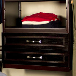 """John Louis Home - John Louis Home Woodcrest Closet Drawer Kit - JLH-555 - Shop for Closet from Hayneedle.com! Push your organizer's customizability to the limit with impressive add-ons like the John Louis Home Woodcrest Closet Drawer Kit. This package includes 1 solid wood drawer with satin nickel handle and everything you need to for quick and easy installation like the full-extension drawer glides. The John Louis Home Woodcrest Closet Drawer Kit is available in 12-inch and 16-inch size options and your choice of espresso or caramel finish. About John Louis HomeJohn Louis Home is based out of Earth City Missouri where they thrive as a premier provider of 100% solid wood closet organizers for the entire nation. Their versatile designs are often described as """"Affordable Elegance"""" because they're so beautifully crafted from top-of-the-line materials yet are easy on even the tightest budget. Whether it's a pantry linen laundry or foyer closet the John Louis Home brand has a detailed design that will make organizing your life a whole lot easier. Best of all each of their many storage solutions is made to suit any skill level so that even the most novice Do-It-Yourselfer can assemble a stunning closet organizer with nothing but a screwdriver saw level and pencil."""