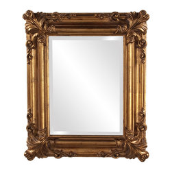 Howard Elliott - Edwin Gold Mirror - Our Edwin mirror is finished in a Rustic Antique Gold. Finished In A Rustic Antique Gold. Mirror Size: 12 in. x 16 in. . 19 in. x 23 in. x 2 in.