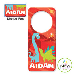 Kidkraft - Kidkraft Kids Red Dinosaur Door Hanger - This Door Hanger Can be personalized with any name up to 9 characters in length. All lower case, Font, color and graphic art only as shown, Fits any standard door knob, Reverse side is blank.