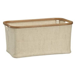 Large Bamboo-Jute Basket - Durable, eco-friendly jute and sustainable bamboo pair up in rounded rectangular basket to store household essentials. Collapsible bamboo supports fold down for compact storage.