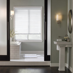 "Window Treatments for Bathrooms: Levolor 2"" Faux Wood Blinds - Faux Wood Blinds are our top pick for bathrooms. They have a classic look, and are safe for high moisture and temperature spaces. The solid PVC slats will never warp or crack like wood blinds can in some instances."