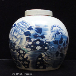 "Vintage Chinese Blue & White Porcelain Large Ginger Jar - Dimensions: Dia 11"" x h11"" approximate minor variation"