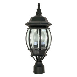 Nuvo Lighting - Central Park 3 Light Textured Black With Clear Beveled Panels Post Lantern - This ornate black lantern post head looks like it was stolen from Central Park and installed in your front lawn. The classic textured black body cases beautiful beveled glass. There is space for three luminous bulbs of 60-watt candelabra incandescence.
