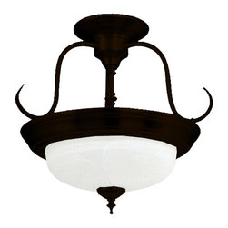 Yosemite Home Decor - Yosemite Home Decor Elizabeth Semi Flush Mount Ceiling Light X-BD2-2000HJ - Traditional elements, including knob and turned details, draw the eye to this Yosemite Home Decor semi flush mount ceiling light. From the Elizabeth Collection, this traditional ceiling light has been finished in a rich Dark Brown hue, which is accentuated by the clean tones of the frosted glass diffuser.
