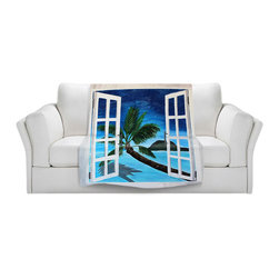 DiaNoche Designs - Throw Blanket Fleece - Window To Paradise - Original Artwork printed to an ultra soft fleece Blanket for a unique look and feel of your living room couch or bedroom space.  DiaNoche Designs uses images from artists all over the world to create Illuminated art, Canvas Art, Sheets, Pillows, Duvets, Blankets and many other items that you can print to.  Every purchase supports an artist!