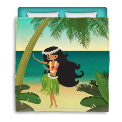 "Surfer Bedding - Eco Friendly ""Hula Girl On The Beach"" Made in USA Premium Queen Size Duvet Cover - ""Hula Girl on the Beach"" Surfer Bedding Is Premium Quality and Made In The USA!"
