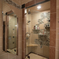 contemporary showers by Mirage Mirror &amp; Glass