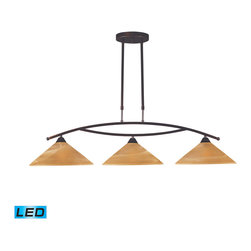 Elk Lighting - EL-6552/3-LED Elysburg LED 3-Light Island Light in Tea Swirl Glass - The geometric lines of this collection offer harmonious symmetry with a sophisticated contemporary appeal. A perfect complement for kitchens, billiard parlors, or any area that requires direct lighting. Featured in satin nickel with white marbleized glass or aged bronze finish with tea stained brown swirl glass. - LED, 800 lumens (2400 lumens total) with full scale dimming range, 60 watt (180 watt total)equivalent, 120V replaceable LED bulb included.