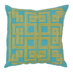 Surya Rugs - Aqua and Wasabi Polyester Filled 18 x 18  Pillow - - This trendy design will bring the perfect amount of style to your home. This pillow has a polyester fill and a zipper closure. Made in India with one hundred percent Linen and cotton detail this pillow is durable and priced right  - Cleaning/Care: Blot. Dry Clean  - Filled Material: Polyester Filler Surya Rugs - LD011-1818P