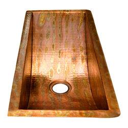 "Artesano Copper Sinks - Rectangular Bar Copper Sink - Undermount - Rectangular Bar Copper Sink - Undermount - 24 x 10 x 6"" - all hand made, all copper, all hammered, gauge 16, drain 3.5"""