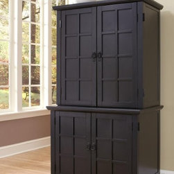 Home Styles Arts and Crafts Compact Computer Armoire with Hutch - Black - Control the clutter in your home office - without taking up a lot of precious floor space - with the Home Styles Arts and Crafts Compact Computer Armoire with Hutch - Black. This computer armoire and hutch feature an attractive design that will look great in any room along with plenty of space-saving features to keep you organized. Constructed of hardwood solids and engineered wood it's finished in black with a multi-step process ending in a clear coat to protect against normal wear and tear. Assembly is easy and detailed instructions are included.This computer armoire can hold your whole computer system with a CPU compartment retractable keyboard tray with fully extending drawer guides and printer shelf. The large file drawer can hold letter- or legal-size files and the utility drawer is perfect for storing smaller office items. A small storage space below the utility drawer has an adjustable shelf. The cabinet doors open completely to fit flush against the unit saving valuable floor space.The hutch adds extra storage with plenty of spaces for important documents and other items. It has three wire management holes to keep cords out of the way and two pigeon hole organizers with three slots each. Three letter organizer slots can be turned any direction to suit your needs and a fixed shelf provides extra storage.Additional Features:Drawer guides on keyboard tray extend fullyDoors swing all the way open to sit flush against unitPigeon holes letter organizers and shelf in hutchDimensions:CPU compartment: 9.75W x 21D x 18.5H inchesKeyboard tray: 32W x 15D x 1.75H inchesPrinter shelf: 23.25W x 20.75D x 8.25H inchesFile drawer: 21.25W x 18.5D x 10H inchesSmall drawer: 7.75W x 14.5D x 2.25H inchesPigeon hole organizers: 6.25W x 9.75D x 20.5H inchesLetter slots: 13.25W x 11.75D x 12.5H inchesFixed shelf: 34W x 12D x 14H inchesOverall hutch opening: 34W x 16.75D x 35.5H inchesAbout Home StylesHome Styles is a manufacturer and distributor of RTA (ready to assemble) furniture perfectly suited to today's lifestyles. Blending attractive design with modern functionality their furniture collections span many styles from timeless traditional to cutting-edge contemporary. The great difference between Home Styles and many other RTA furniture manufacturers is that Home Styles pieces feature hardwood construction and quality hardware that stand up to years of use. When shopping for convenient durable items for the home look to Home Styles. You'll appreciate the value.