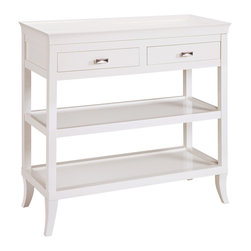 Sterling Industries - Sterling Industries 6042716 Tamara Hall - White - The Top Has A Gracefully Curved  Removable Serving Tray. Also Features Two Drawers And Two Shelves. Is Beautiful As A Hall  Serving Or Bar Table.
